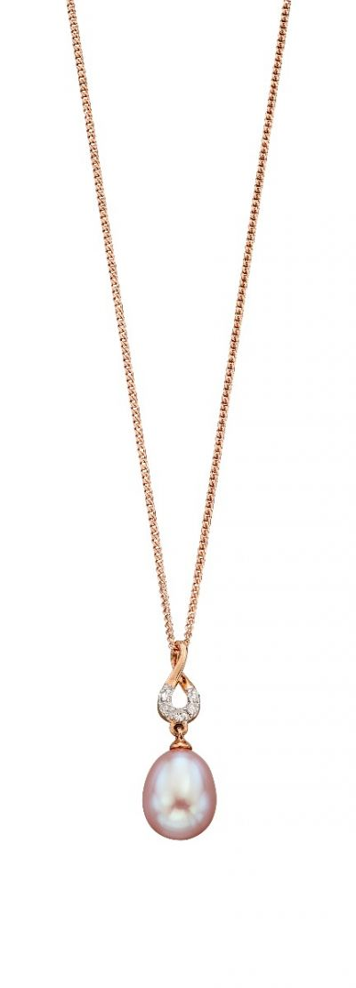 9ct Rose Gold Pendant With Pink Freshwater Pearl And Diamonds and Chain