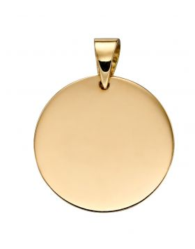 9ct Yellow Gold Plain Disc Pendant