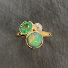 Load image into Gallery viewer, 9ct Emerald, Opal & Diamond Flower Pot Ring