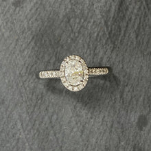 Load image into Gallery viewer, Platinum Oval Diamond Halo Engagement Ring
