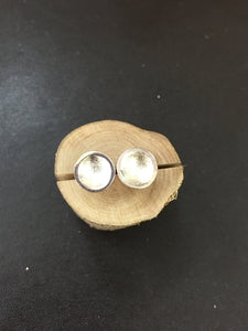 Sterling Silver Round Dipped Studs