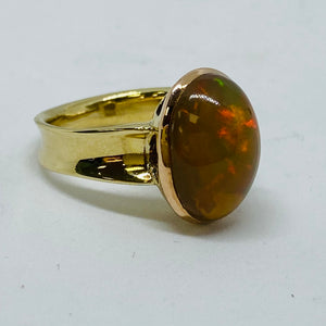 9ct Yellow Gold Handmade Opal Ring