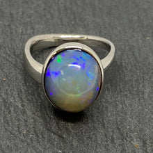 Load image into Gallery viewer, 9ct White Gold Blue Opal Ring Handmade by James Bishop