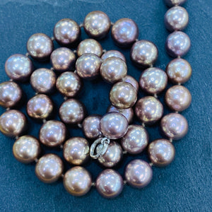 Natural Bronze 9-10mm Pearl Necklace