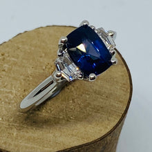 Load image into Gallery viewer, Platinum Sapphire & Cadillac Diamond Ring