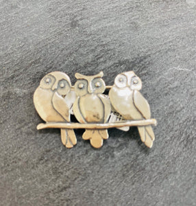 Sterling Silver On A Branch Owls Brooch's
