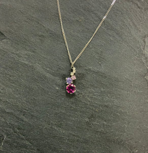 Platinum Staggered Necklace With Tourmaline, Sapphire And Diamond