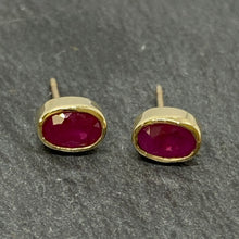 Load image into Gallery viewer, 18ct Gold Oval Ruby Stud Earrings