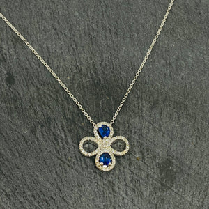 Sapphire & Diamond Clover Necklace Set In Platinum