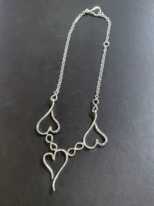 Silver Triple Heart Necklace Handmade by James