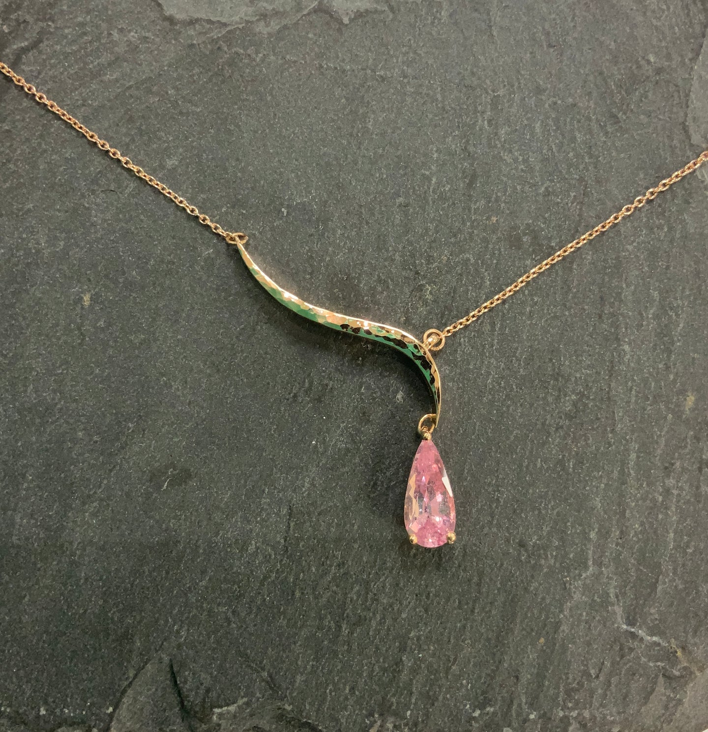 Rose Gold And Pink Sapphire Necklace