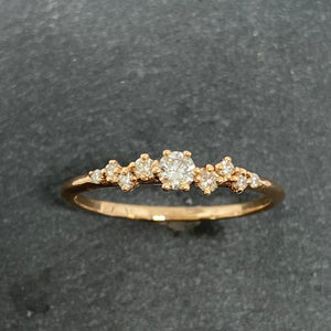 9ct Rose Gold Staggered Diamond Ring