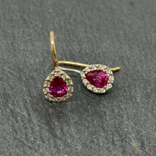 Load image into Gallery viewer, 9ct Hot Pink Sapphire & Diamond Drop Earrings
