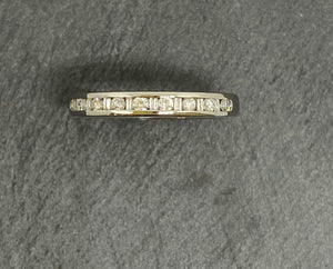 18ct White Gold Baguette & Round Brilliant Cut Diamond Eternity Ring