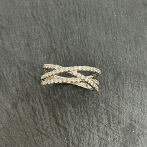 18ct White Gold Diamond Set 3 Row Crossover Ring