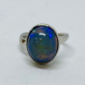 9ct White Gold Blue Opal Ring Handmade by James Bishop