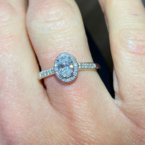 Platinum Oval Diamond Halo Engagement Ring