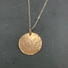 Load image into Gallery viewer, Rose Gold Hammered Disc Pendant