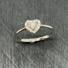 Load image into Gallery viewer, 18ct White Gold Diamond Halo Heart Ring