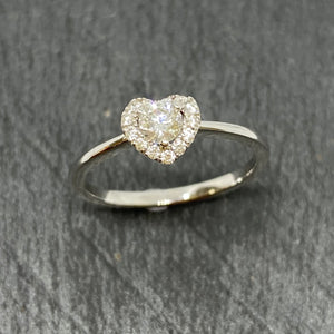 18ct White Gold Diamond Halo Heart Ring