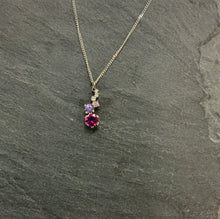 Load image into Gallery viewer, Platinum Staggered Necklace With Tourmaline, Sapphire And Diamond