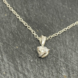 White Gold Single Stone Diamond Pendant 0.25ct