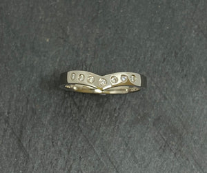 Palladium Wishbone Shaped Diamond Eternity Ring