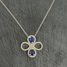 Load image into Gallery viewer, Sapphire & Diamond Clover Necklace Set In Platinum