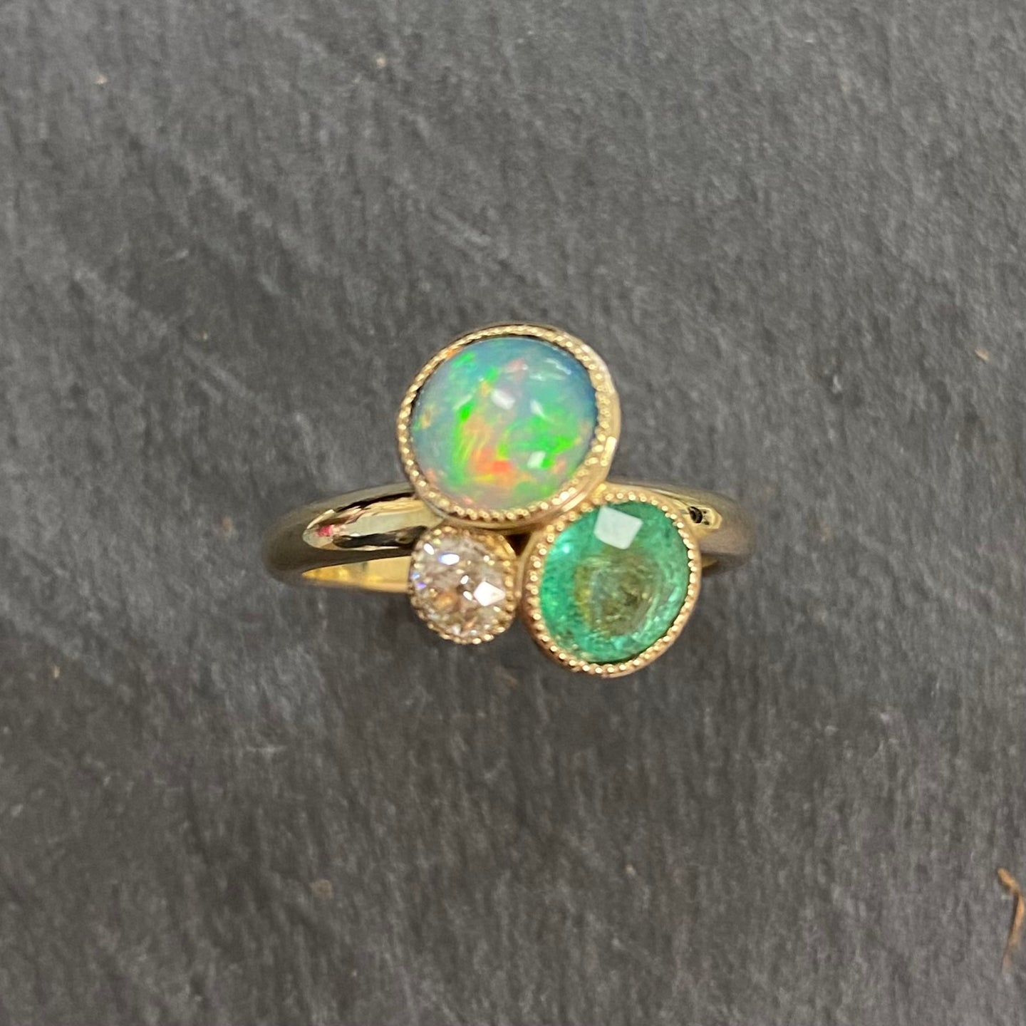 9ct Emerald, Opal & Diamond Flower Pot Ring