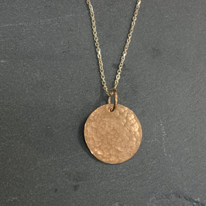 Rose Gold Hammered Disc Pendant