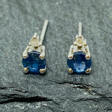 Load image into Gallery viewer, White Gold Sapphire & Diamond Studs