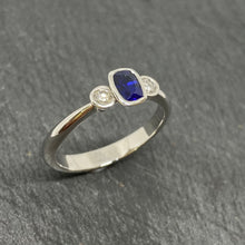 Load image into Gallery viewer, 9ct White Gold Sapphire & Diamond 3 Stone Ring