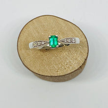 Load image into Gallery viewer, White Gold Emerald & Diamond Ring