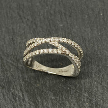 Load image into Gallery viewer, 18ct White Gold Diamond Set 3 Row Crossover Ring