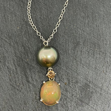 Load image into Gallery viewer, 18ct Tahitian Pearl, Opal & Chocolate Diamond Necklace