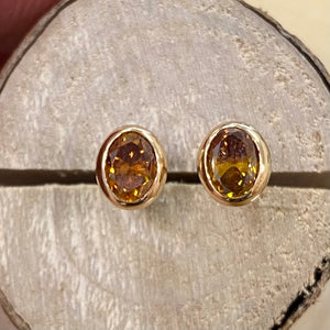 18ct Natural Burnt Orange Diamond Studs 0.82ct