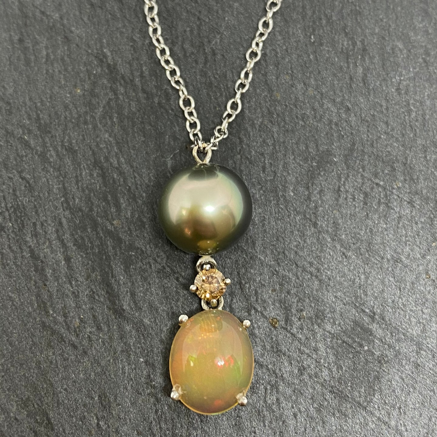 18ct Tahitian Pearl, Opal & Chocolate Diamond Necklace