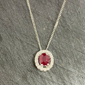 White Gold Ruby & Diamond Cluster Pendant