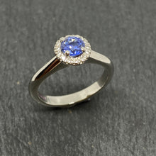 Load image into Gallery viewer, Platinum Sapphire & Diamond Halo Cluster Ring