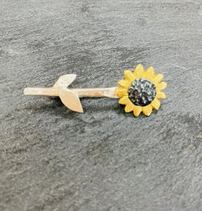 Sterling Silver And Oxidised Sunflower Brooch