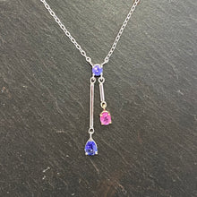 Load image into Gallery viewer, Tanzanite, Pink Sapphire & Blue Sapphire Necklace