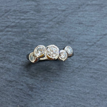 Load image into Gallery viewer, 9ct Gold Staggered Diamond Bubble Ring