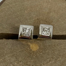 Load image into Gallery viewer, 9ct White Gold Princess Cut Diamond Studs 0.16ct