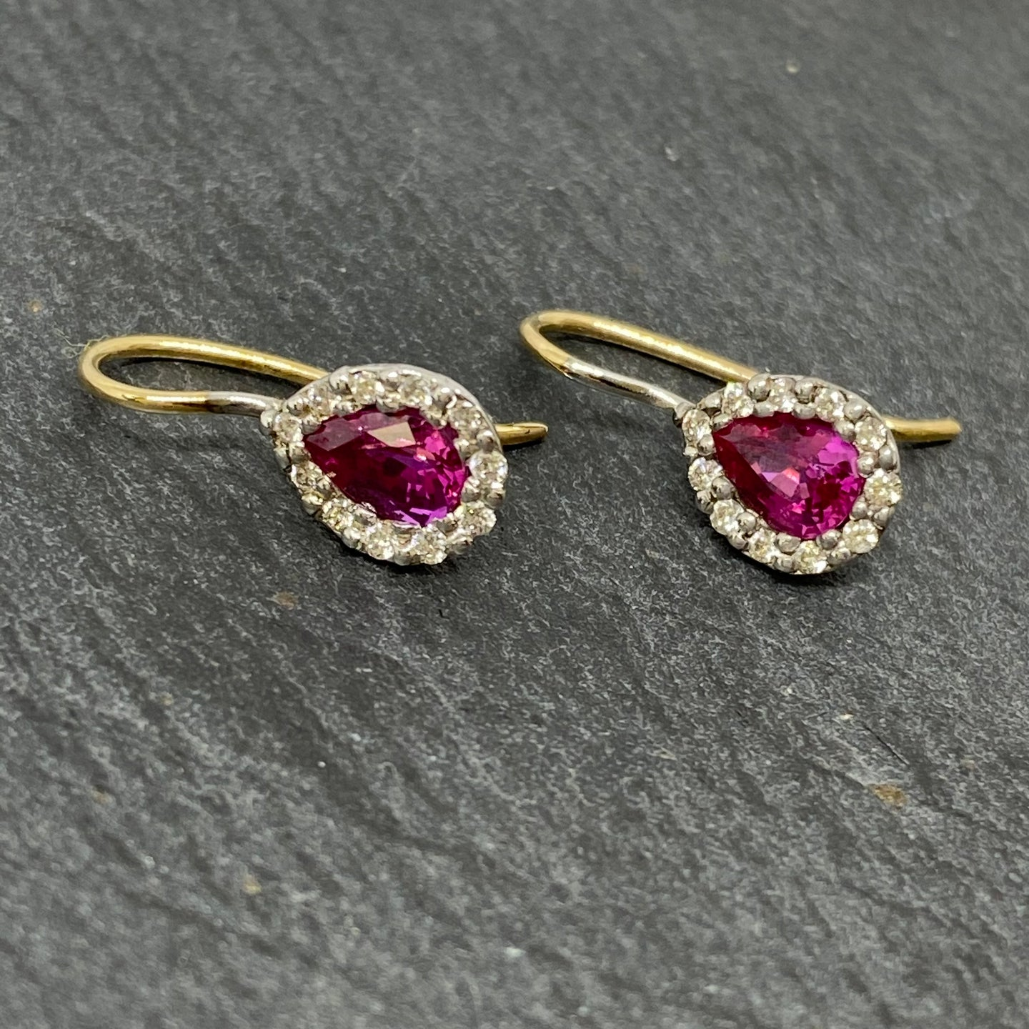 9ct Hot Pink Sapphire & Diamond Drop Earrings