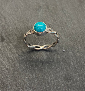Woven Sterling Silver And Turquoise Ring