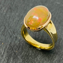 Load image into Gallery viewer, 9ct Yellow Gold Handmade Opal Ring
