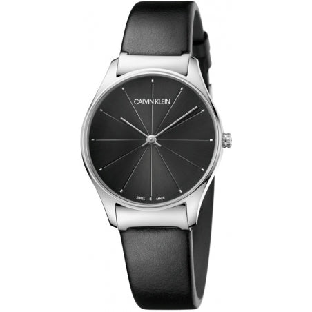 Calvin Klein Gents Stainless Steel Black Leather Watch