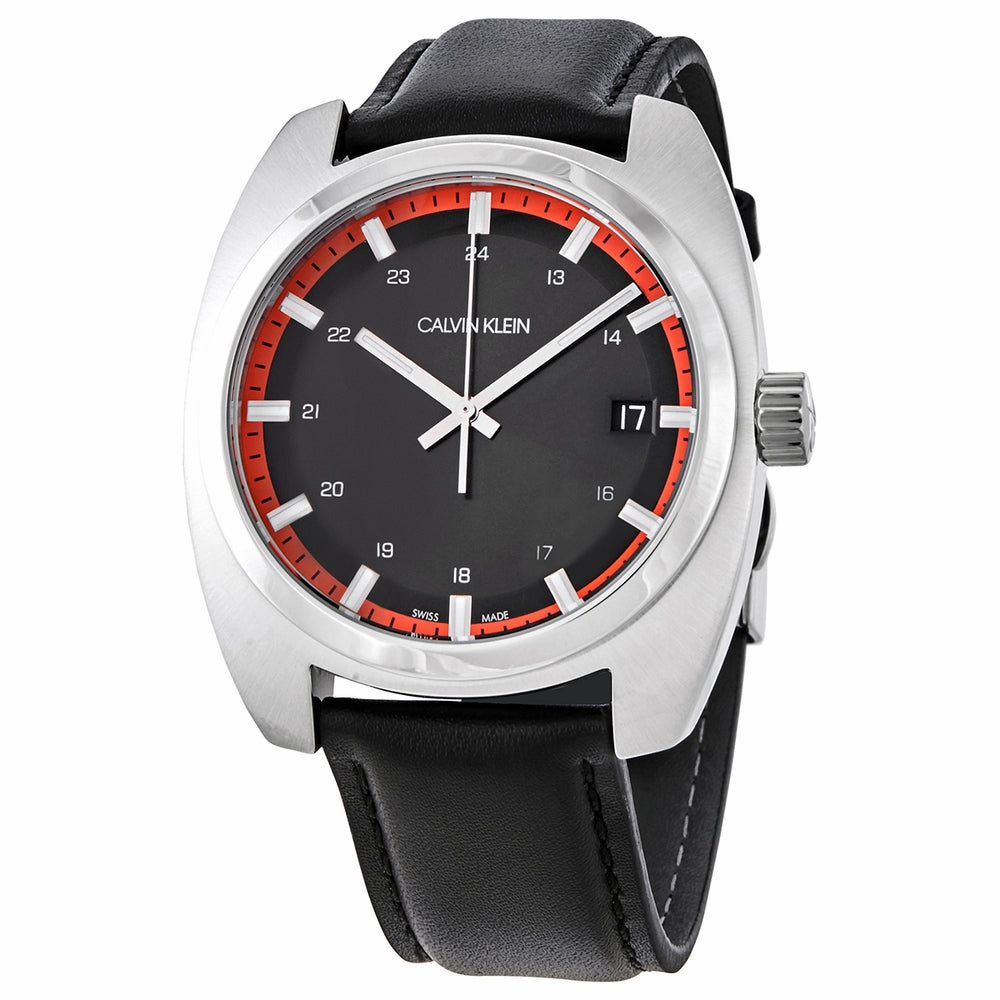 Calvin Klein Gents Stainless Steel Black & Red Dial & Leather Strap Watch