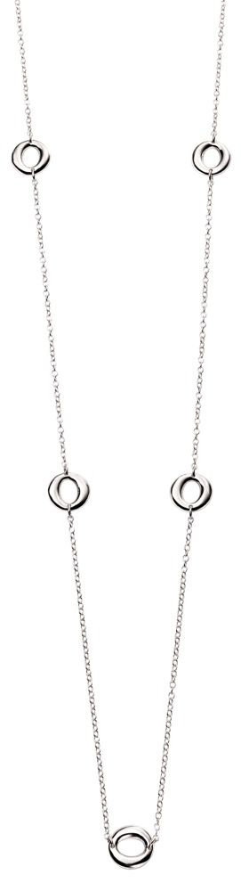 Sterling Silver Organic Station 80cm Necklace