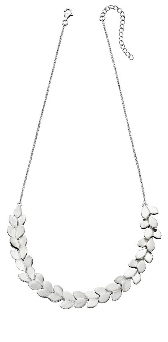 Sterling Silver Overlapping Leaf Necklace